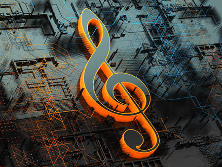 Music concept abstract background.Clef key.Technology and trendy music.3d illustration