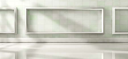 Home architecture, white wood floor and white wall.3d illustration Archivio Fotografico