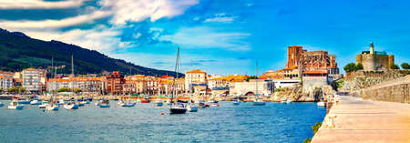 Fishing village and Boat dock. Scenic seascape.tourism in Spain