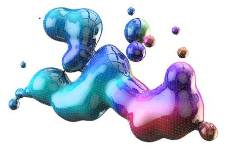 Abstract 3d illustration colorful gradient drop liquid over white background. Archivio Fotografico