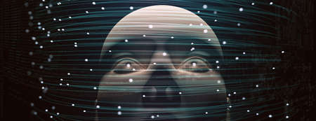 Artificial intelligence and cyborg concept with face and net. 3d illustration
