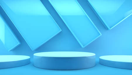 Blank product stand for product presentation.3d illustration of pedestal and a showcase