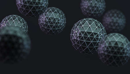 Abstract background with balls and geometric shapes in dark space