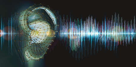 Hearing test showing ear and sound waves. Archivio Fotografico