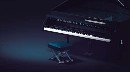 Grand piano in dark room and spotlight Archivio Fotografico