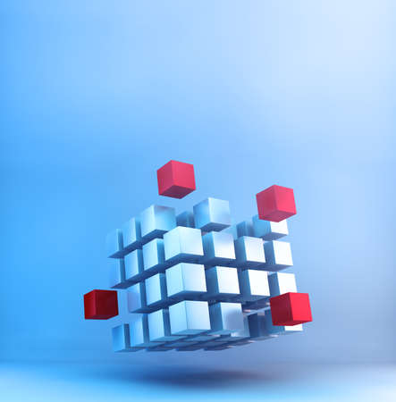 Partner and teamwork business concept with cubes structure