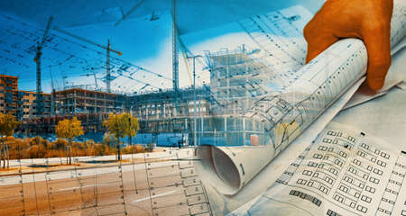 Architect and blueprint concept. Engineering and architecture design background Archivio Fotografico