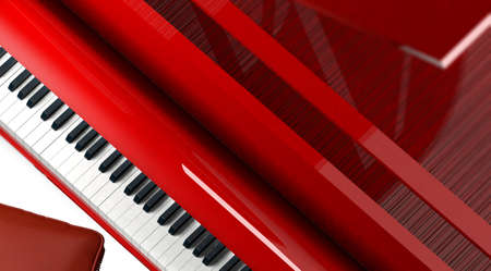 Close-up red grand piano keyboard keys background. Archivio Fotografico