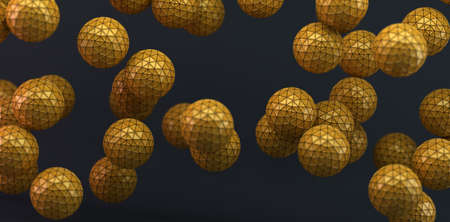Abstract background with orange balls and geometric shapes in dark space