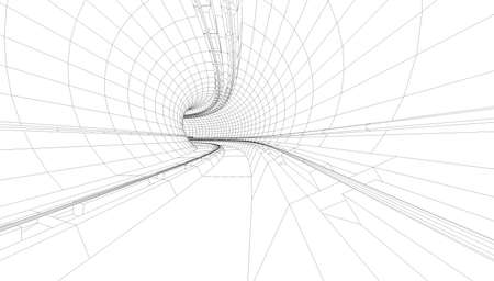 train in a metro station illustrated in wire frame style Archivio Fotografico