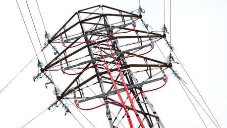 High voltage electric line pylon isolated over white background Archivio Fotografico