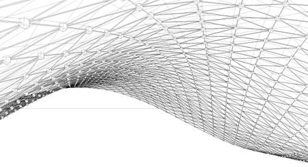 Mesh or net with lines and geometric shapes detail.3d illustration in wire frame style Archivio Fotografico