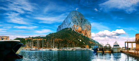 Rock of Penon by Ifach. Mediterranean coast landscape in the city of Calpe. Coastal city located in the Valencian Community, Alicante, Spain.