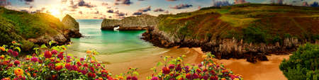 Stunning scenery of coastline, beach and cliffs in Cantabria, Spain