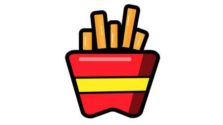 Illustration of box with french fries potato Archivio Fotografico