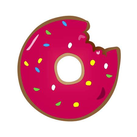 Illustration of bitten donut on a white background
