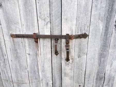 Closeup Of Aged Wrought Iron Door Handles And Latch On Barn Door Stock  Photo   92570524