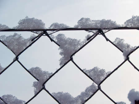 Snow on wire frame with a clear background Standard-Bild - 100938015