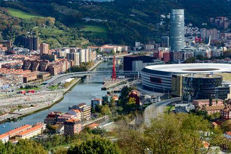 Bilbao view from Covetas Mount with San Mames football stadium Kobetas