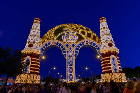 Entrance decoration on the April Fair in Sevilla remembering the Expo 92 Arco de entrada en la feria de Sevilla 2017 recordando la Expo 92 Editorial