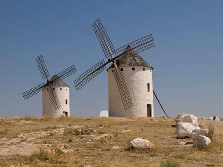 Windmills in Campo de Criptana Ciudad Real Stok Fotoğraf