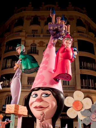 Handmade sculptures in papel mache in Las Fallas in Valencia Spain Editorial