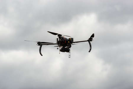 High endurance experimental drone in a test flight with thermal camera Stock Photo