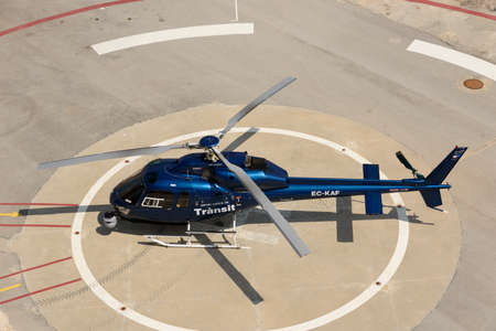 Traffic control helicopter landed near Barcelona port