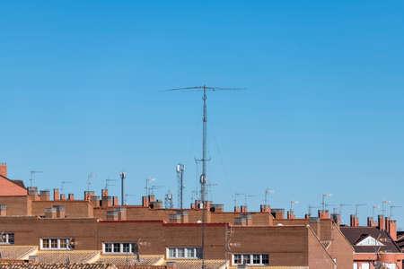 Ham radio HF antennas with blue sky background