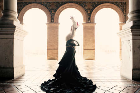 Spanish woman dancing flamenco dance in a beautiful monumental place. She is wearing a traditional black dress, a white shirt, a red flower and a headpiece. She is carrying a hand fan.
