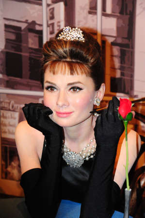 ano: Audrey Hepburn - wax figure at Madame Tussauds in london Editorial