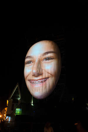 Lisbon, Cascais, Portugal - September 14, 2013 - projections of  Faces Of Cascais  at the event Lumina - Festival of Light Editorial
