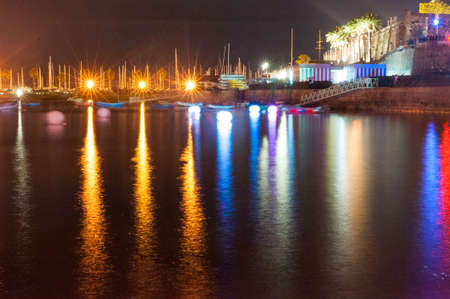 buoys: Lisbon, Cascais, Portugal - September 14, 2013 - Tidal lights and port light at the event Lumina - Festival of Light