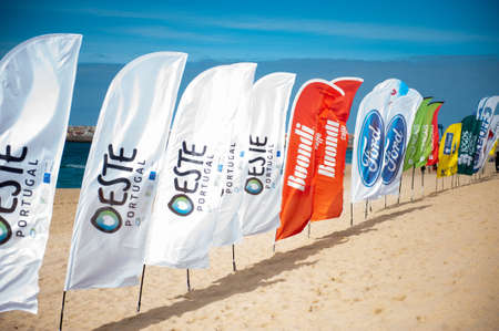 Peniche, Portugal - Outuber 13, 2013 -Advertising Flags - World Championship Tour