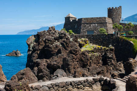 Wall of rock Porto Moniz Madeira Portugal Stock Photo