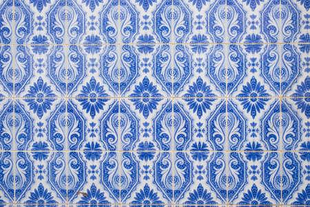 blue traditional ornate portuguese decorative tiles 版權商用圖片