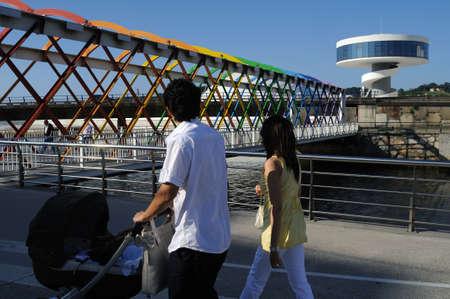oscar niemeyer: Access bridge  Niemeyer Center  in R�a of AVIL�S . Principado de Asturias . SPAIN