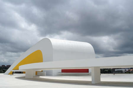 Auditorium  Niemeyer Center  in Ria of AVILES . Principado de Asturias . SPAIN