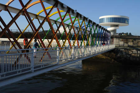 aviles: Access bridge  Niemeyer Center  in Ria of AVILES . Principado de Asturias . SPAIN