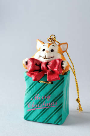 Cat .Ornament  of  Christmas tree. photo