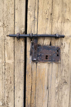 castille: Traditional door lock l in  LUZON. Guadalajara . Castille - La Mancha .