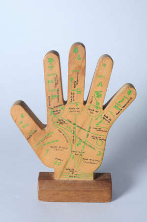 chiromancy: Wooden hand palmistry.