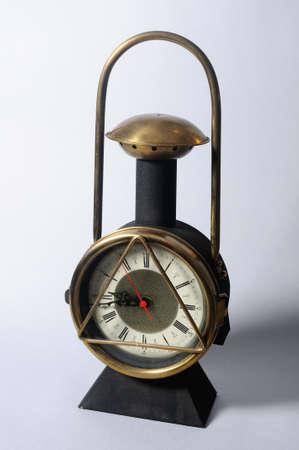 lugs: Clock     Railroad lantern  Stock Photo