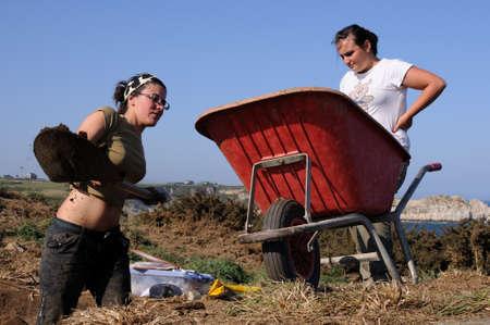 SPAIN.Asturias. Council of  El Franco. CABO BLANCO ; Archaeological excavation  Stock Photo - 11691793