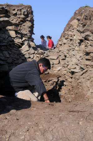 archaeologists: SPAIN.Asturias. Council of  El Franco. CABO BLANCO ; Archaeological excavation