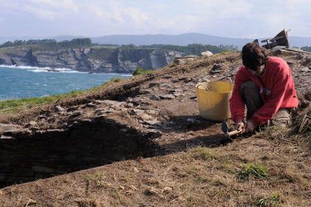 blanco: Archaeological excavation  Castro of  CABO BLANCO   ( Atlantic Bronze Age ) Asturias. Council of  El Franco. SPAIN