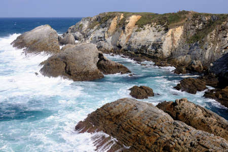 cantabrian: View  CAPE BLANCO  ( Cantabrian sea ) Asturias. Council of  El Franco. SPAIN Stock Photo