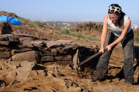 capes: Archaeological excavation  Castro of  CABO BLANCO   ( Atlantic Bronze Age ) Asturias. Council of  El Franco. SPAIN