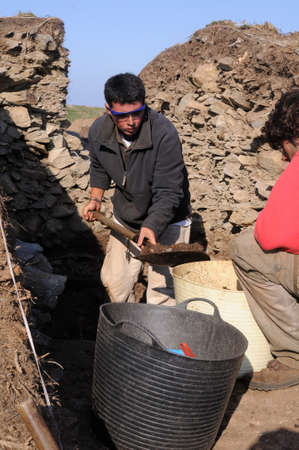 fortifying: Archaeological excavation  Castro of  CABO BLANCO   ( Atlantic Bronze Age ) Asturias. Council of  El Franco. SPAIN