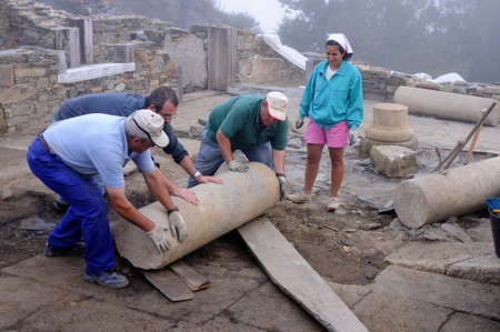 Moving column in the patio of the ' Domus '   Archaeological site ' Chao Samartin ' Asturias SPAIN